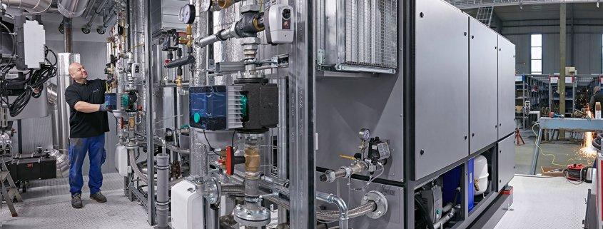 Heizzentrale im Technikcontainer